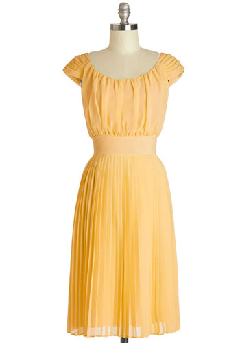 Walking by the Water Dress in Sunflower - Long, Yellow, Solid, Pleats, Special Occasion, Wedding, Daytime Party, Graduation, Bridesmaid, A-line, Sleeveless, Better, Scoop, Exclusives, Variation, Show On Featured Sale
