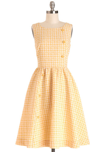 Picnic Poise Dress by Myrtlewood - Woven, Yellow, White, Checkered / Gingham, Buttons, Daytime Party, A-line, Sleeveless, Better, Pockets, Exclusives, Private Label, Sundress, Top Rated, Full-Size Run, Long