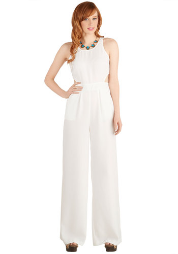 Sublime is of the Essence Jumpsuit by BB Dakota - Best, Full length, White, Non-Denim, Jumpsuit, Jumper, Sheer, Woven, Long, White, Solid, Cutout, Pockets, Cocktail, Vintage Inspired, Spring, Summer, 70s, Wedding, Girls Night Out, Wide Leg