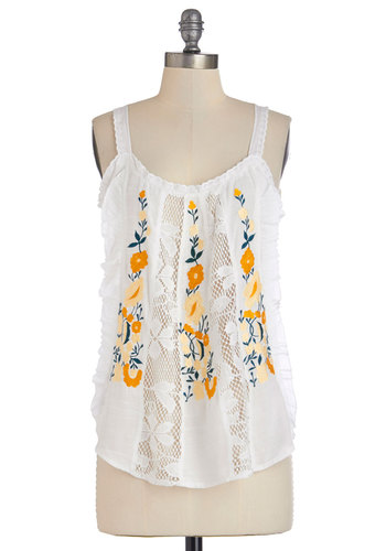 Southwest Sunset Tank in White - Mid-length, Sheer, Woven, White, Embroidery, Daytime Party, Beach/Resort, Boho, Festival, Tank top (2 thick straps), Summer, White, Sleeveless, Ruffles, Good