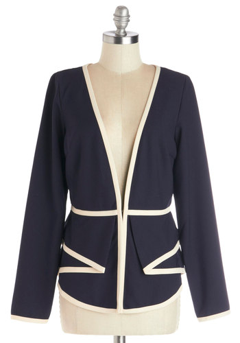 Style Showcase Blazer - Woven, Mid-length, Blue, White, Solid, Tiered, Trim, Work, Long Sleeve, 1