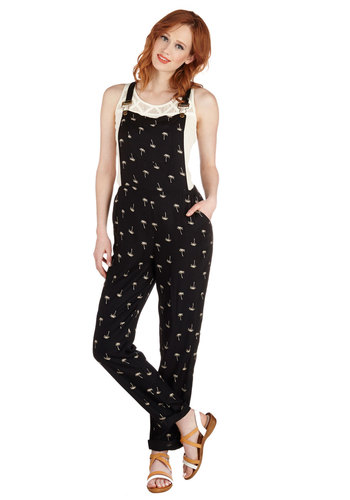 You're the Palm Overalls by Sugarhill Boutique - Black, Tan / Cream, Novelty Print, Pockets, Casual, Overalls, Spring, Summer, High Rise