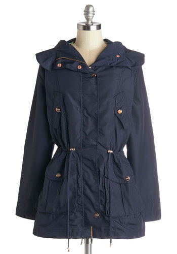 Walk the Rainway Raincoat - Mid-length, Blue, Solid, Buttons, Pockets, Belted, Casual, Safari, Long Sleeve, Spring, Fall, Best, Blue, Long Sleeve, 2