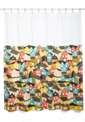 Paint the Town Charming Shower Curtain - Cotton, Woven, Multi, Better, Novelty Print