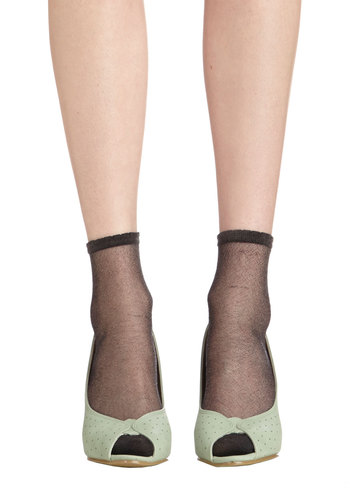 A Lining of Luxe Socks in Black - Black, Solid, Bows, Ruffles, Good, Variation, Sheer, Knit