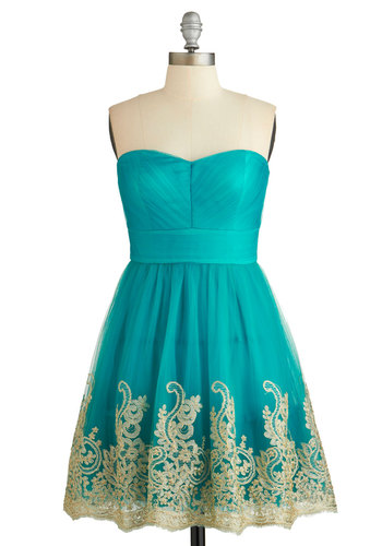 Fabled Fanfare Dress - Blue, Gold, Embroidery, Special Occasion, Prom, Strapless, Woven, Better, Sweetheart, Tulle, Mid-length, Fit & Flare