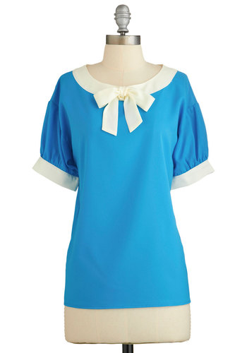 Modern Madeline Top in Aqua - Blue, Solid, Bows, Work, Vintage Inspired, Darling, Short Sleeves, Spring, Blue, Short Sleeve, Nautical, Mid-length, Chiffon, Woven, White, Variation