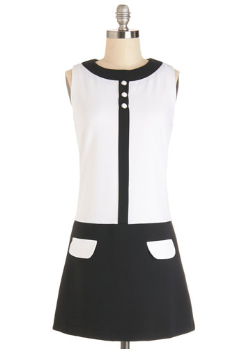 Mod World Dress - Black, White, Buttons, Pockets, Shift, Sleeveless, Better, Crew, International Designer, Vintage Inspired, 60s, Mod, Summer, Knit, Colorblocking, Casual, Short