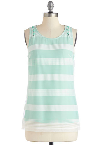 Chic-est of the Week Top - Mid-length, Woven, Mint, White, Stripes, Casual, Pastel, Sleeveless, Spring, Summer, Green, Sleeveless, Scoop, Good