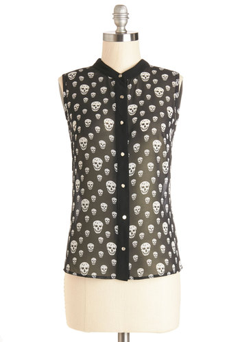 Head to Flow Top - Black, Sleeveless, Mid-length, Chiffon, Sheer, Black, Novelty Print, Buttons, Skulls, Sleeveless, Halloween