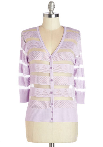 Grape Demand Cardigan - Purple, 3/4 Sleeve, Short, Sheer, Knit, Purple, Buttons, Knitted, Pastel, 3/4 Sleeve, Spring