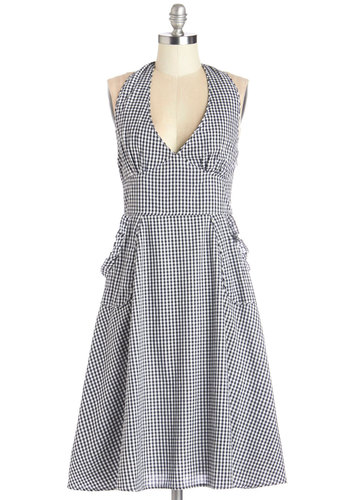 Life's A Picnic Dress - Black, White, Checkered / Gingham, Pockets, Casual, Sundress, A-line, Sleeveless, Summer, Woven, Better, V Neck, Halter, Mid-length, Cotton, Vintage Inspired, 50s