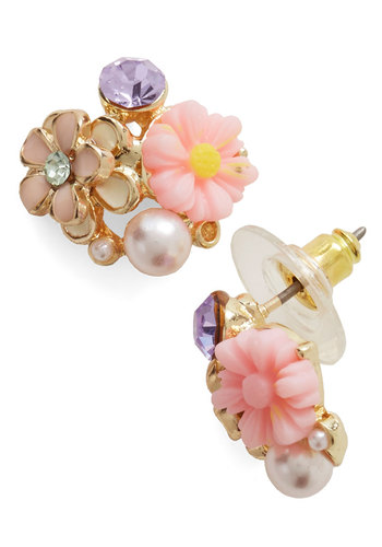 In Dew Time Earrings in Morning - Pink, Multi, Solid, Flower, Pearls, Rhinestones, Good, Variation, Social Placements, Gold