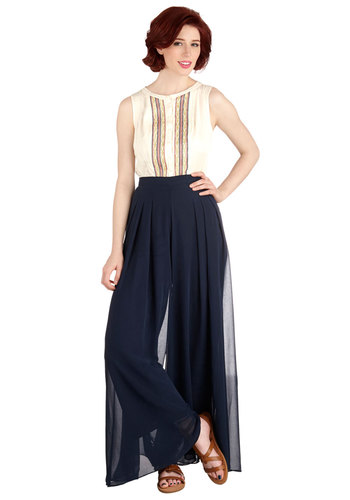 Windy Pretty Pants - Good, Mid-Rise, Full length, Blue, Non-Denim, Chiffon, Woven, Blue, Solid, Pleats, Spring, Fall, Winter, High Waist