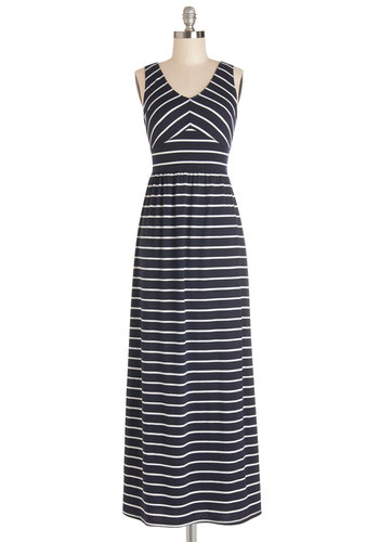 Trivia Night Delight Dress - Blue, White, Stripes, Casual, Beach/Resort, Maxi, Sleeveless, Summer, Knit, Good, V Neck, Long, Maternity, Full-Size Run