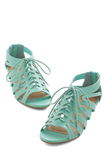 Peppy Pace Wedge - Low, Faux Leather, Mint, Solid, Cutout, Daytime Party, Pastel, Wedge, Lace Up, Summer