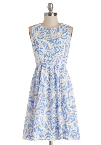 Plenty by Tracy Reese The Joy is Mine Dress by Plenty by Tracy Reese - Blue, White, Print, Lace, A-line, Sleeveless, Summer, Woven, Better, Scoop, Mid-length, Daytime Party, Graduation