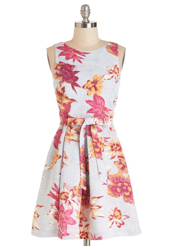 Plenty by Tracy Reese Petal Trail Dress by Plenty by Tracy Reese - Floral, A-line, Sleeveless, Summer, Woven, Better, Scoop, Mid-length, Multi, Yellow, Pink, Grey, Belted, Daytime Party, Beach/Resort, Graduation