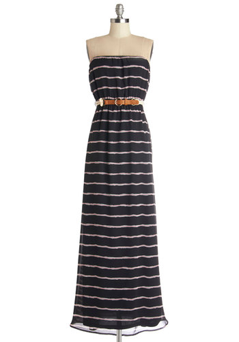 Enjoy the Sunset Dress - Black, White, Stripes, Belted, Casual, Beach/Resort, Maxi, Strapless, Summer, Woven, Good, Long, Chiffon, Pink, Nautical