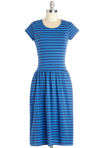 Stroll to Me Dress - Blue, Stripes, Pockets, Casual, Nautical, A-line, Cap Sleeves, Good, Scoop, Long, Knit