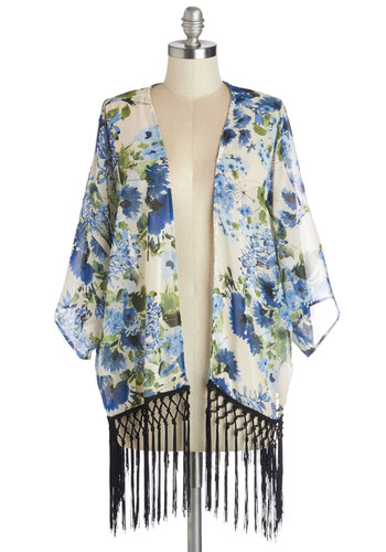 Savannah Stroll Jacket in Blue Bouquets - Good, White, Chiffon, Sheer, Woven, Floral, Fringed, Casual, Daytime Party, Boho, 70s, Festival, Spring, Summer, Multi, Blue, White, Variation, 1, Mid-length