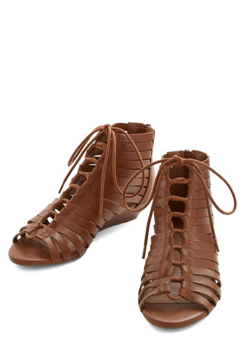 City Sightsee Sandal - Low, Faux Leather, Brown, Solid, Boho, Summer, Vintage Inspired, 70s, Festival