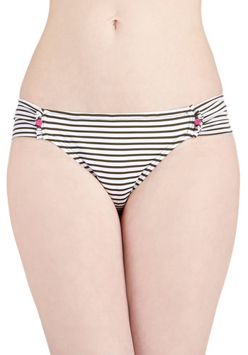Betsey Johnson All Rosette Up Swimsuit Bottom in Bikini by Betsey Johnson - Multi, Pink, Stripes, Trim, Ruching, Beach/Resort, Vintage Inspired, 50s, Summer, Black, White, Flower