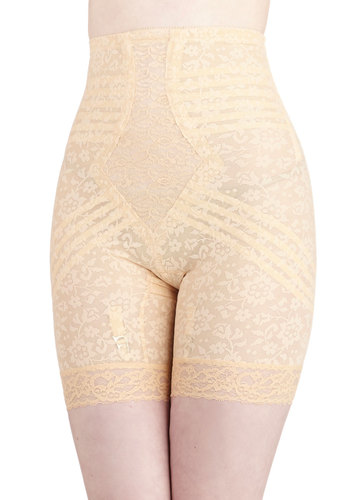 Elegant Underpinnings Contouring Shorts in Peach by Rago - Cream, Floral, Casual, Lace, Pinup, Vintage Inspired, 40s, 50s, 60s, Sheer, Best Seller, Lace, Party