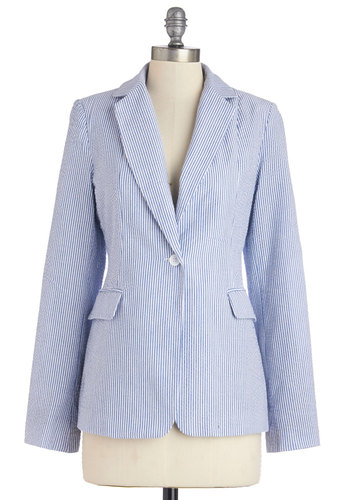 Beachside Board Meeting Blazer - Good, Blue, Long Sleeve, Mid-length, Cotton, Woven, Spring, Blue, White, Stripes, Pockets, Work, Long Sleeve, 1