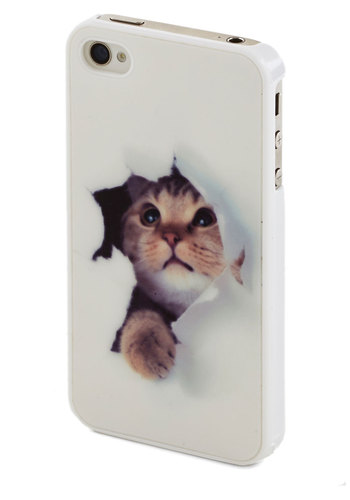 Peek-a-Mew iPhone 4/4S Case - White, Multi, Print with Animals, Casual, Travel, Cats, White, Gals, Under $20, Top Rated, Critters