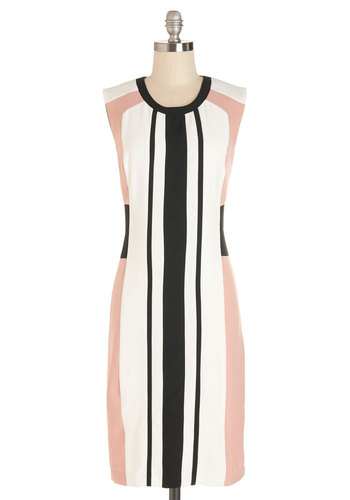 New Novelist Dress - Stripes, Casual, Shift, Sleeveless, Better, Scoop, Woven, Long, Multi, Pink, Black, White, Exposed zipper, Work, Colorblocking