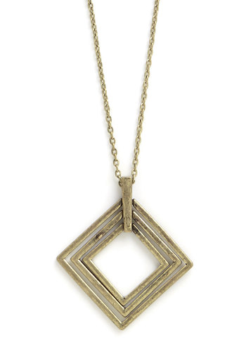 Think Inside the Box Necklace - Solid, Gold, Good, Minimal, Boho, Urban, Festival, Fall