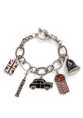 No Place like London Bracelet - Blue, White, Casual, Charm, Silver, Better, Multi, Red, Black, Novelty Print, Travel, Gals