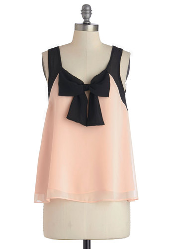 Gift of Style Top - Mid-length, Chiffon, Sheer, Woven, Pink, Bows, Cocktail, Girls Night Out, Darling, Sleeveless, Spring, Summer, Pink, Sleeveless, Black, Party