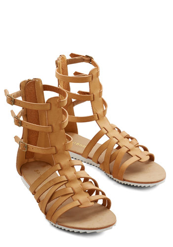 Indubitably Independent Sandal - Flat, Faux Leather, Tan, Solid, Boho, Summer, Good, Strappy