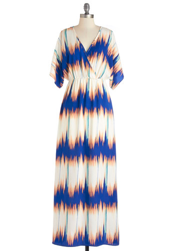 Soulful Sound Waves Dress - Cutout, Casual, Maxi, Short Sleeves, Summer, Better, V Neck, Woven, Multi, Print, Long, Maternity, Full-Size Run