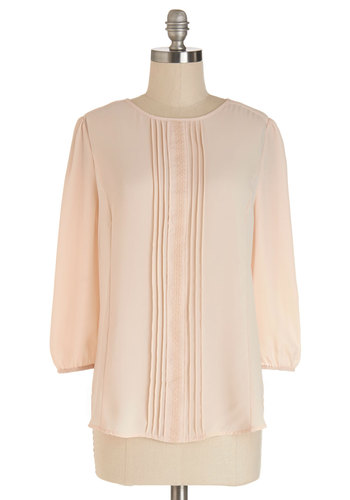 What Else is Neutral? Top - Mid-length, Chiffon, Sheer, Woven, Pink, Solid, Work, Pastel, Spring, Pink, 3/4 Sleeve, 3/4 Sleeve