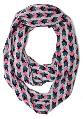 Skate and See Scarf - Pink, Grey, Chevron, Casual, Festival, White, Woven, Multi, Blue, Social Placements, Boho