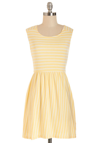 Stripes of Sunshine Dress - Yellow, Stripes, Casual, A-line, Summer, Better, Scoop, Short, Jersey, Knit, Yellow, Sleeveless