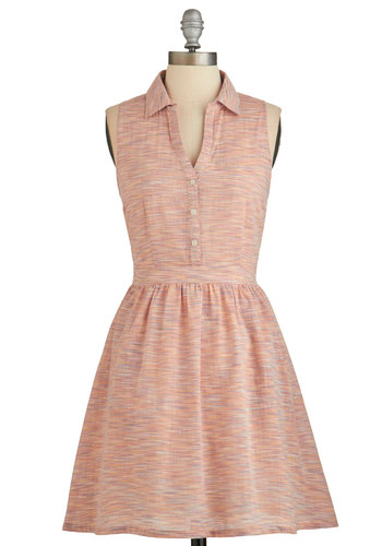 Abiding Artistry Dress by Tulle Clothing - Pink, Buttons, Pockets, Casual, Shirt Dress, Sleeveless, Better, Collared, Print, Summer, Woven, Mid-length