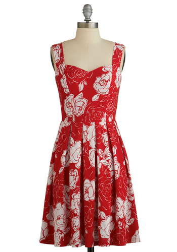 Cherished Choice Dress - Red, White, Floral, Pleats, A-line, Sleeveless, Better, Sweetheart, Daytime Party, Americana, Woven, Mid-length