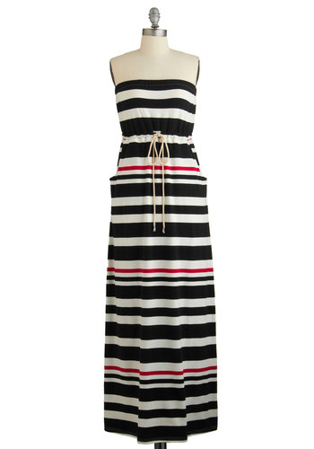 To the High Seas Dress - Black, White, Stripes, Pockets, Belted, Casual, Beach/Resort, Nautical, Maxi, Strapless, Summer, Knit, Good, Long