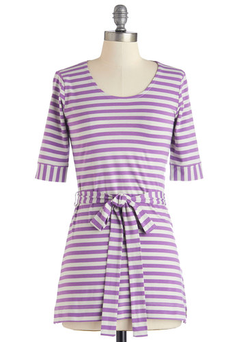 A Matter of Downtime Tunic - Long, Knit, Purple, Grey, Stripes, Belted, Casual, Short Sleeves, Spring, Scoop, Purple, Short Sleeve