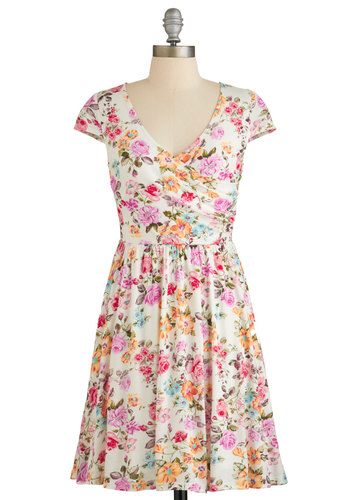 Cultivate Character Dress - Multi, Floral, Casual, A-line, Cap Sleeves, Summer, Woven, Good, V Neck, Mid-length