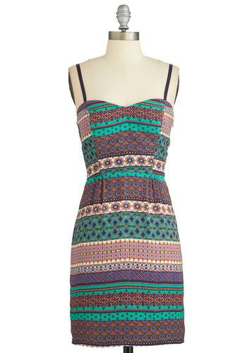Major Magnetism Dress - Multi, Print, Casual, A-line, Summer, Woven, Good, Sweetheart, Spaghetti Straps, Mid-length, Girls Night Out