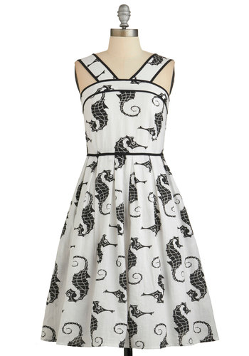 Giddy Upstream Dress by Dear Creatures - Black, Print with Animals, A-line, Sleeveless, Better, White, Pockets, Trim, Nautical, Critters, Summer, Exclusives, Cotton, Long, Daytime Party, Beach/Resort