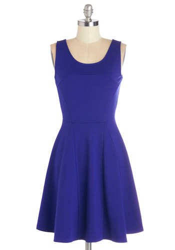 Precisely Poised Dress - Blue, Solid, Party, A-line, Sleeveless, Good, Scoop, Mid-length, Knit