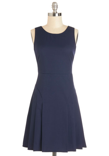 But of Courts! Dress - Blue, Solid, Pleats, Party, A-line, Sleeveless, Woven, Good, Scoop, Mid-length