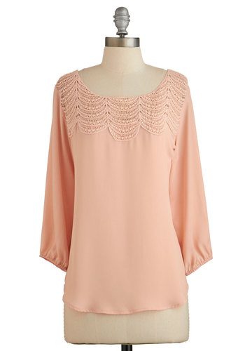 Operetta Audition Top in Peach - Orange, 3/4 Sleeve, Orange, Solid, Work, 3/4 Sleeve, Spring, Pastel, Variation, Mid-length, Coral, Crochet, Press Placement