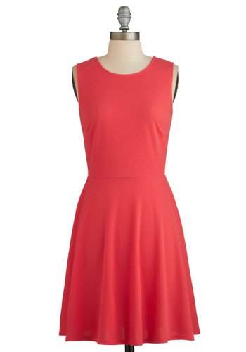 Fashion Fervor Dress - Coral, Solid, Lace, A-line, Sleeveless, Knit, Good, Scoop, Backless, Girls Night Out, Mid-length, Press Placement